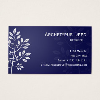 White Branch on Blue Business Card