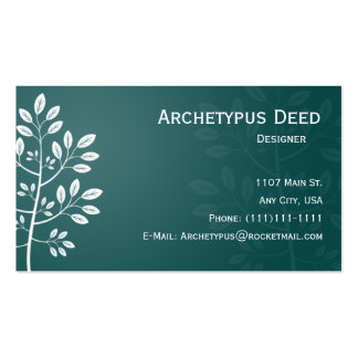 White Branch on Teal Business Card