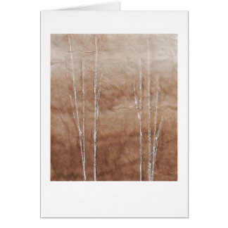 White branches on sepia abstract painting greeting card