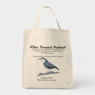 White Breasted Nuthatch Bird Info Tote Bags