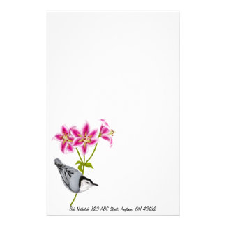 White Breasted Nuthatch on Lilies Stationery