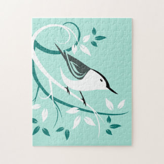 White Breasted Nuthatch On Stylized Branch Jigsaw Puzzle