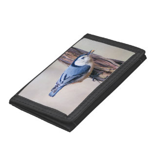 White Breasted Nuthatch Trifold Nylon Wallet