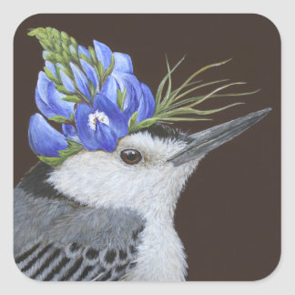 white breasted nuthatch with lupine stickers