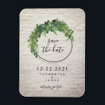 """White Brick Inspired Botanical Save The Date Magnet<br><div class=""""desc"""">A wedding save the date magnet featuring a botanical design with a white brick inspired background.</div>"""