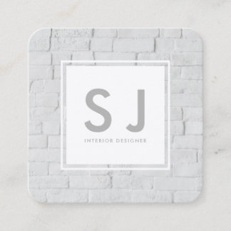 White Brick Simple Modern Interior Designer Square Business Card