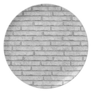 White brick wall plates