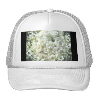 White Bridal Bouquet In Black Hat - Customizable Hat