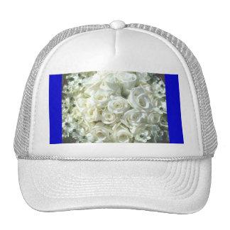 White Bridal Bouquet In Blue Mesh Hat