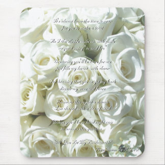White Bridal Bouquet Will You Be My Bridesmaid I Mouse Pad