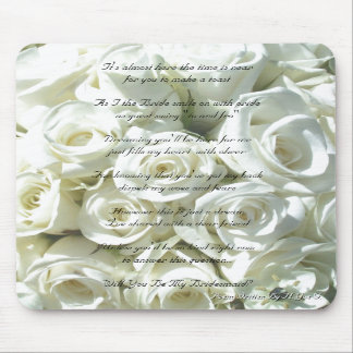 White Bridal Bouquet Will You Be My Bridesmaid Mousepads