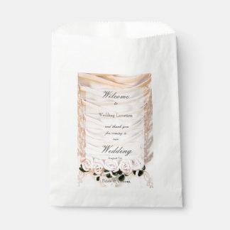 White Bridal Dress with Roses Wedding Favor Bag
