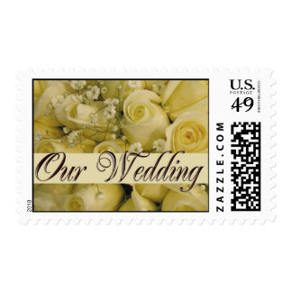 White bridal rose bouquet postage