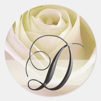 White Bridal Rose Monogram Sticker Initial D