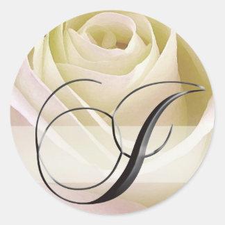 White Bridal Rose Monogram Sticker Initial I