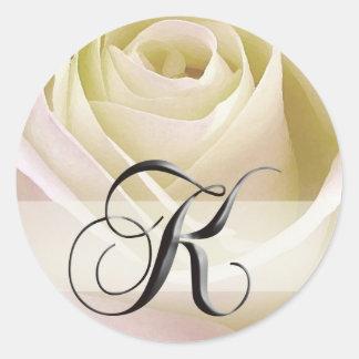 White Bridal Rose Monogram Sticker Initial K