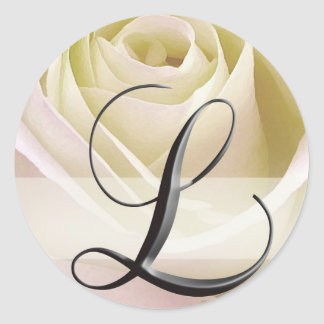 White Bridal Rose Monogram Sticker Initial L
