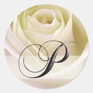 White Bridal Rose Monogram Sticker Initial P