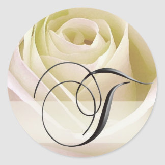 White Bridal Rose Monogram Sticker Initial T