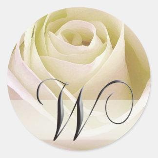 White Bridal Rose Monogram Sticker...Initial W Classic Round Sticker