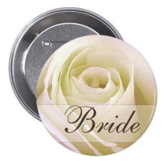 White Bridal Rose Pinback Button