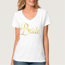 White Bride V Neck with Gold Cursive T-Shirt
