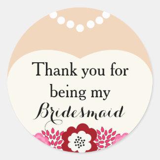 White Bridesmaid Wedding Thank You Stickers