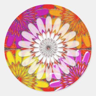 WHITE bright SUN Chakra Sunflower Yoga Mandala FUN Classic Round Sticker