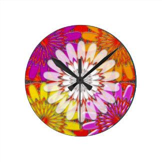 WHITE bright SUN Chakra Sunflower Yoga Mandala FUN Round Clock