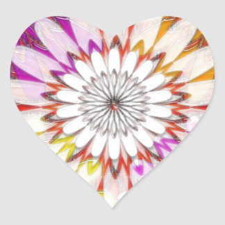 WHITE bright SUN Chakra Sunflower Yoga Mandala FUN Heart Stickers