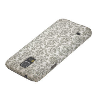 White Brocade Damask Print Case For Galaxy S5