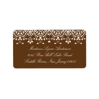 White/Brown Damask Lace Return Address Label