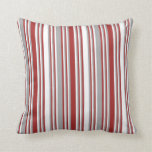 [ Thumbnail: White, Brown & Dark Grey Colored Lines Pillow ]