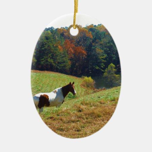 White brown horse autumn pond ceramic ornament zazzle Pond ornaments