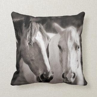 White Brown Horses Sepia Horse Pillows