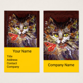 WHITE BROWN KITTY CAT PORTRAIT,RED RIBBON Yellow Business Card