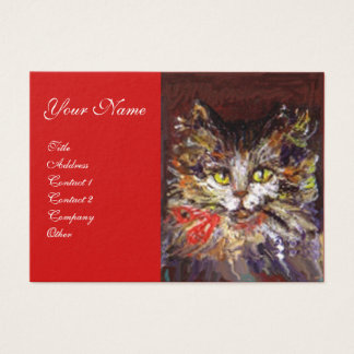 WHITE BROWN KITTY CAT PORTRAIT WITH RED RIBBON BUSINESS CARD