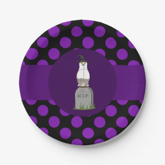 White & Brown Owl on Grave with Purple Dots 7 Inch Paper Plate