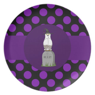 White & Brown Owl on Grave with Purple Dots Plates