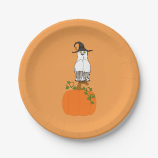 White & Brown Owl on Halloween Pumpkin 7 Inch Paper Plate