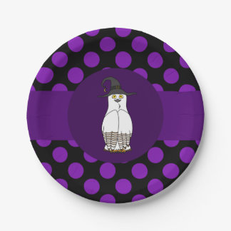 White & Brown Owl - Witch Hat & Purple Polka Dots 7 Inch Paper Plate