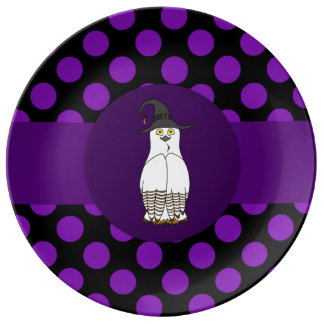 White & Brown Owl - Witch Hat & Purple Polka Dots Porcelain Plate