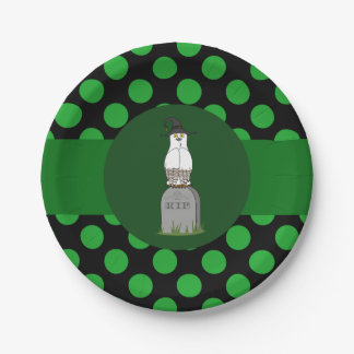 White & Brown Owl Witch with Grave & Green Dots 7 Inch Paper Plate