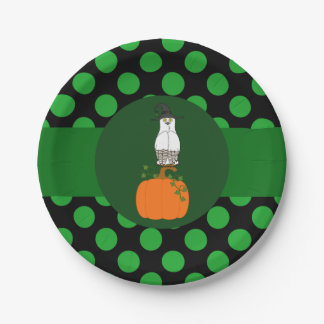 White & Brown Owl Witch with Pumpkin & Green Dots 7 Inch Paper Plate