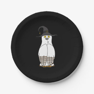 White & Brown Owl with Halloween Witch Hat 7 Inch Paper Plate