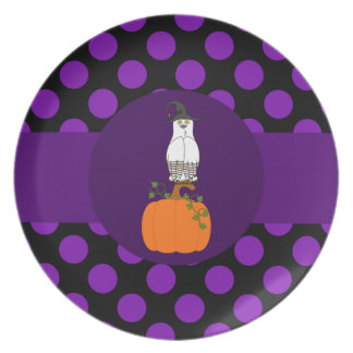 White & Brown Owl with Witch Hat & Purple Dots Dinner Plate