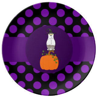 White & Brown Owl with Witch Hat & Purple Dots Porcelain Plate