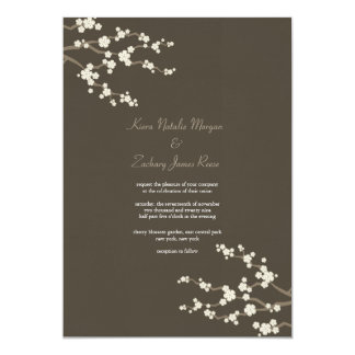 White Brown Sakura Cherry Blossoms Wedding Invite