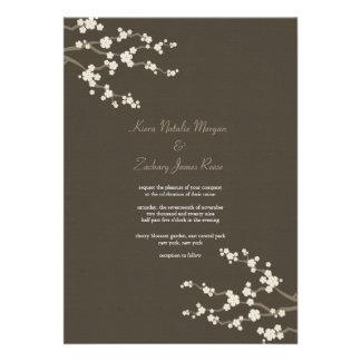 White Brown Sakura Cherry Blossoms Wedding Invite Custom Invitation