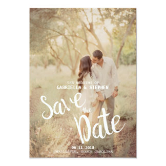 White Brush Engagement Nature Photo Save the Date Card